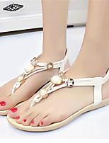 Zapatos de mujer-Tacón Plano-Comfort-Sandalias-Exterior / Casual-Semicuero-Negro / Blanco