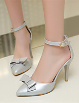 Women's Shoes Leatherette Stiletto Heel Heels / Pointed Toe Heels Office & Career / Dress /Pink / White / Silver / Beige