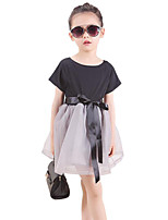 Girl's Black Dress,Solid Cotton / Polyester Summer