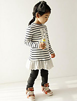 Girl's Black / White Dress Cotton Spring / Fall