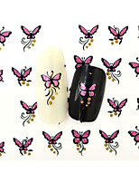 10PCS 3D Water Transfer Pink Butterfly Nail Art Sticker DIY Decoration  Nail Tools Nail Tips BLE840D