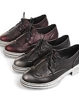 Chaussures Femme-Habillé / Décontracté-Noir / Bordeaux-Plateforme-Creepers / Bout Arrondi / Bout Fermé-Mocassins-Similicuir