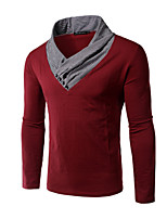 Men's Long Sleeve T-Shirt , Cotton Casual / Work / Formal / Sport Color Block