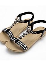Women's Shoes Fleece Flat Heel Comfort Sandals Outdoor / Dress / Casual Black / White