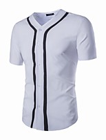 Men's Short Sleeve T-Shirt,Polyester / Spandex Casual Solid