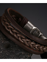 Head Layer Cowhide Titanium Steel Buckle Men Anchor Bracelet