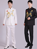 Suits Tailored Fit Notch Single Breasted More-Button Polyester Patterns 2 Pieces Black