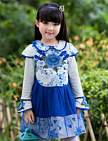Girl's Blue Dress,Floral Polyester Summer / Fall