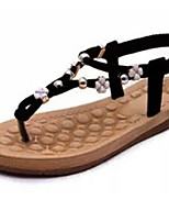 Women's Shoes Leatherette Wedge Heel Comfort Sandals Casual Black / White