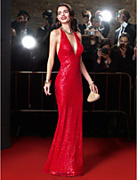 TS Couture® Formal Evening Dress-Burgundy Sheath/Column Halter Floor-length Sequined