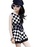 Girl's Cotton Spring / Fall  Black & White Checker Off Shoulder Sleeveless Suspender Dress