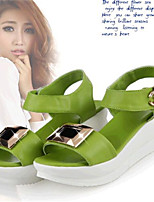 Women's Shoes Leatherette Platform Comfort Sandals Casual Green / White