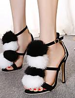 Women's Shoes Fleece Stiletto Heel  Open Toe Sandals Party & Evening / Dress Black