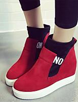 Chaussures Femme-Extérieure / Décontracté-Noir / Rouge-Talon Compensé-Bottes à la Mode-Bottes-Similicuir