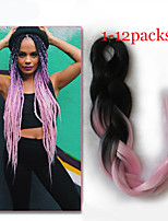 1-12packs #1B/pink Color Braiding Hair High Temperature braiding hair 100g/pcs synthetic braiding hair Extensions