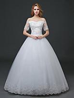 A-line Wedding Dress - White Floor-length Off-the-shoulder Lace