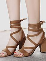 Women's Shoes Fleece Chunky Heel  Open Toe Sandals Dress Black / Brown