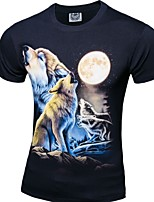 Wolf 3D printing summer men round neck cotton short-sleeved T-shirt