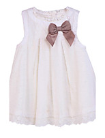 Girl's White Dress,Bow Cotton Summer