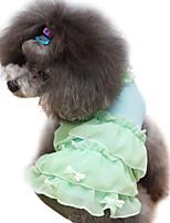 Hunde Kleider Grün / Blau / Rosa / Purpur Sommer / Frühling/Herbst einfarbig / Schleife / Perle Modisch