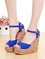 Women's Shoes Fleece Wedge Heel Wedges Sandals Casual Black / Blue / Red