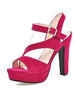 Women's Shoes Fleece Chunky Heel Heels Sandals Wedding / Office & Career / Party & Evening / Dress Black  / Almond