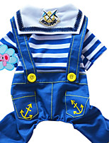 Dog Clothes/Jumpsuit Red / Blue Spring/Fall Stripe / Jeans Fashion