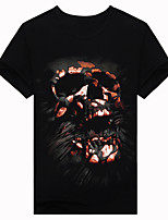 Men's Short Sleeve T-Shirt,Cotton Casual / Work / Formal / Sport Print 3D printing nightmare skull t-shirt
