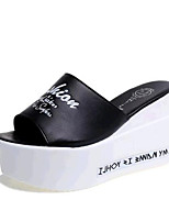 Women's Shoes Leatherette Wedge Heel Wedges / Slippers Sandals Casual Black / White