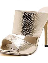 Women's Shoes Leatherette Stiletto Heel Open Toe Sandals Dress Silver / Gold