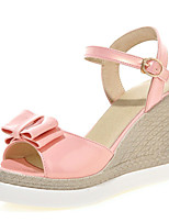 Women's Shoes Patent Leather Wedge Heel Peep Toe / Platform / Open Toe Sandals Party & Evening  / Pink / White /