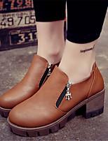 Chaussures Femme-Extérieure / Décontracté-Noir / Marron / Gris-Gros Talon-Talons-Talons-Similicuir
