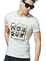 Men's Korean Short Sleeve T-Shirt , Cotton / Spandex Casual / Work / Formal Print Round Neck Leisure T-Shirt