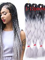 1-12packs # 1b / gery cor do cabelo da trança alta temperatura tranças 100g / pcs extensões de cabelo trança sintética