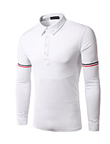 Men's Long Sleeve Polo , Cotton Casual / Work / Formal / Sport Color Block