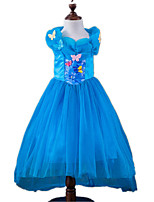 Girl's Blue Dress,Floral Polyester All Seasons
