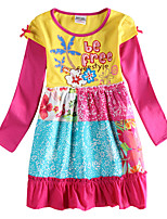 Girl's Long Sleeves Floral Dress Free Style Clothing Kids Dresses(Random Printed)
