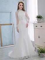 Свадебное платье - Белый Русалка Стойка Со шлейфом средней длины Кружева / Атлас