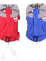Manteaux / Imperméable-Chien-Hiver-Rouge / Bleu-Etanche / Garder au chaud / Mode Couleur Pleine- enCoton
