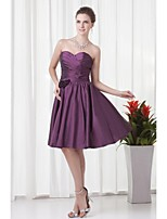 Lanting Knee-length Taffeta Bridesmaid Dress - Grape A-line Strapless