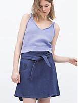 De las mujeres Faldas-Sobre la rodilla Casual / Simple Rígido-Otro