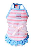 Dog Dress / Shirt / T-Shirt Blue / Pink Summer / Spring/Fall Stripe Fashion