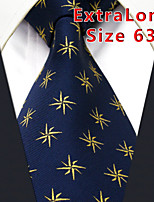 Men's Tie Navy Blue Geometrical 100% Silk Business  Dress Casual Long