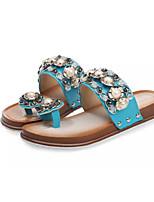 Women's Shoes Leatherette Flat Heel Flip Flops Flip-Flops Outdoor Blue / Pink