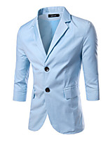 Suits Slim Fit Notch Single Breasted Two-buttons Cotton Blend Solid 1 Piece Black / Blue