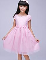 Girl's Pink / White Dress Cotton Summer