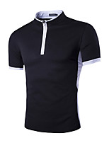 Herren Freizeit T-Shirt  -  Einfarbig Kurz Polyester