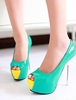 Women's Shoes Patent Leather Stiletto Heel Heels / Peep Toe / Platform Sandals Party & Evening / Dress / Blue / Green
