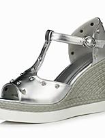 Women's Shoes Wedge Heel Wedges / Heels / Peep Toe Sandals Outdoor / Party & Evening / Dress Silver