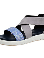 Women's Shoes  Flat Heel Peep Toe / Creepers / Round Toe / Open Toe Sandals / Flats Outdoor / Dress / Casual Blue